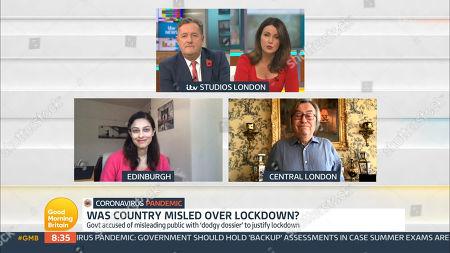 Stock Photo of Piers Morgan, Susanna Reid, Prof. Devi Sridhar and David Mellor