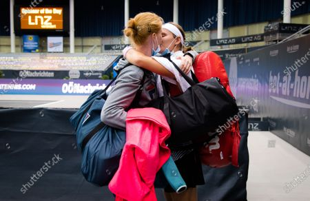 Greet Minnen of Belgium celebrates winning her first round match with her girlfriend Alison van Uytvanck at the 2020 Upper Austria Ladies Linz WTA International tennis tournament
