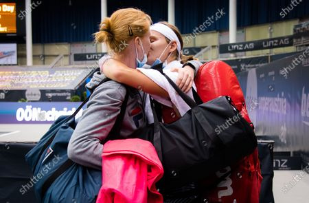 Stock Image of Greet Minnen of Belgium celebrates winning her first round match with her girlfriend Alison van Uytvanck at the 2020 Upper Austria Ladies Linz WTA International tennis tournament