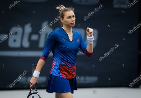 Vera Zvonareva of Russia playing doubles with Gabriela Dabrowski at the 2020 Upper Austria Ladies Linz WTA International tennis tournament