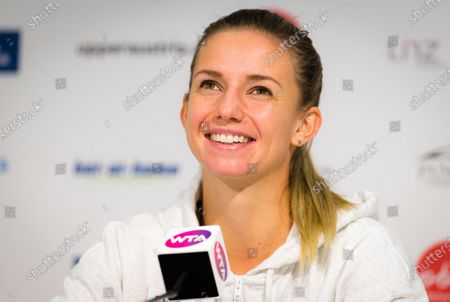 Stock Picture of Barbara Haas of Austria talks to the media at the 2020 Upper Austria Ladies Linz WTA International tennis tournament