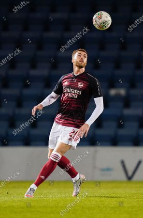 Calum Chambers of Arsenal U21 warms up before kick-off