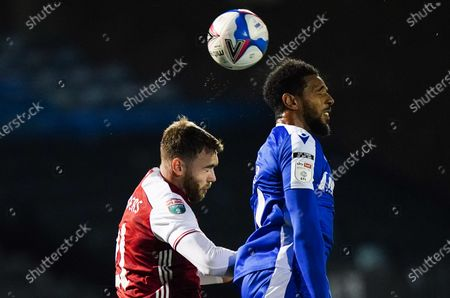Stock Photo of Calum Chambers of Arsenal U21 contests for the ball