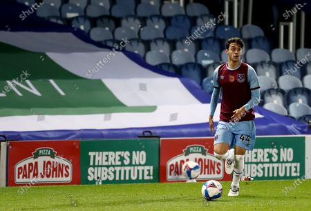 Stock Picture of Bernardo Rosa of West Ham United with Papa Johns perimeter branding.