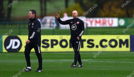 Wales interim coach Rob Page takes training in the absence of Wales manager Ryan Giggs