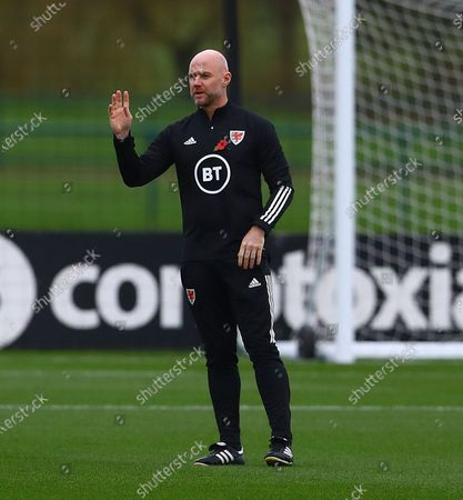 Stock Picture of Wales interim coach Rob Page takes training in the absence of Wales manager Ryan Giggs