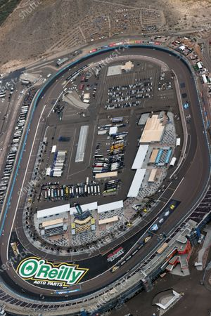 Stock Image of Aerial view of Phoenix Raceway where racing legend, Jimmie Johnson make his final race at the age of 45