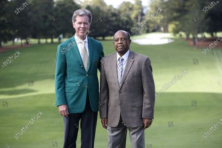Chairman of the Augusta National Golf Club Fred Ridley (L) and Lee Elder (R), the first black man to compete in the Masters Tournament in 1975, pose on the first tee during the first practice round of the 2020 Masters Tournament at the Augusta National Golf Club in Augusta, Georgia, USA, 09 November 2020. The Augusta National Golf Club announced that scholarships will be established in Elder's name and he has been invited to be an Honorary Starter for the 2021 Masters.