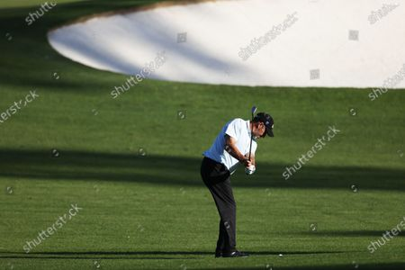 Jose Maria Olazabal of Spain hits on the second hole during the first practice round of the 2020 Masters Tournament at the Augusta National Golf Club in Augusta, Georgia, USA, 09 November 2020. After being delayed seven months by the coronavirus pandemic, the 2020 Masters Tournament is being held without patrons 12 November through 15 November.