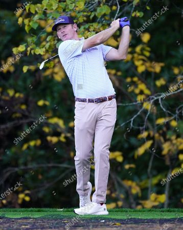 Brandt Snedeker of the US hits his tee shot on the sixteenth hole during the first practice round of the 2020 Masters Tournament at the Augusta National Golf Club in Augusta, Georgia, USA, 09 November 2020. After being delayed seven months by the coronavirus pandemic, the 2020 Masters Tournament is being held without patrons 12 November through 15 November.