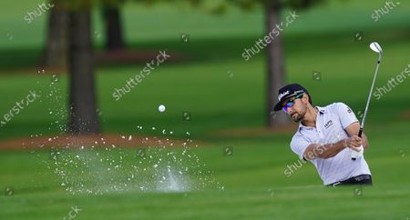 Rafa Cabrera Bello of Spain hits out of a bunker on the fifteenth hole during the first practice round of the 2020 Masters Tournament at the Augusta National Golf Club in Augusta, Georgia, USA, 09 November 2020. After being delayed seven months by the coronavirus pandemic, the 2020 Masters Tournament is being held without patrons 12 November through 15 November.