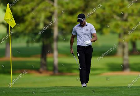Rafa Cabrera Bello of Spain bounces a ball on his club on the fifteenth hole during the first practice round of the 2020 Masters Tournament at the Augusta National Golf Club in Augusta, Georgia, USA, 09 November 2020. After being delayed seven months by the coronavirus pandemic, the 2020 Masters Tournament is being held without patrons 12 November through 15 November.