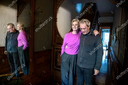 Stock Photo of Writers Siri Hustvedt and Paul Auster at home in Brooklyn. They are both active in the Writers Against Trump movement.