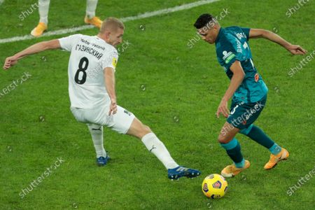 Stock Photo of Yuri Gazinskiy of FC Krasnodar and Douglas Santos of FC Zenit