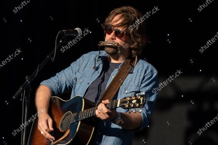 Stock Image of Singer Songwriter Hayes Carll performs during the Long Live Music event on the lawn at the Long Center