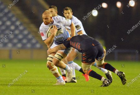 Sam Moore - Cardiff drives into Luke Crosbie.