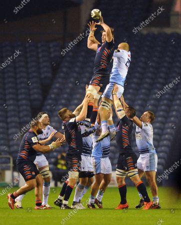 Editorial image of Edinburgh Rugby v Cardiff Blues, Guinness Pro14, Rugby Union, BT Murrayfield Stadium, Edinburgh, Scotland, UK - 09 Nov 2020
