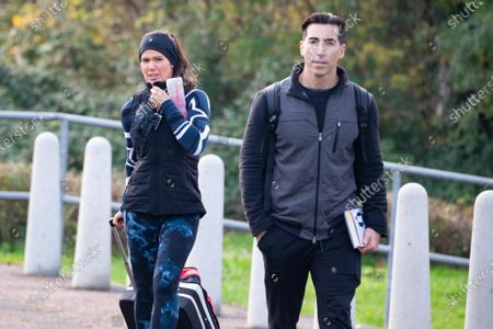Rebekah Vardy and training partner Andy Buchanan after Dancing On Ice rehearsals