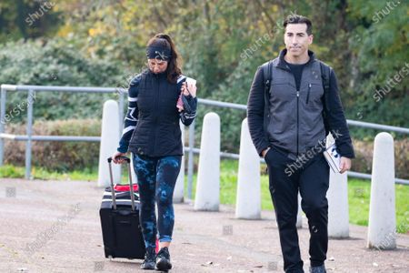 Stock Picture of Rebekah Vardy and training partner Andy Buchanan after Dancing On Ice rehearsals