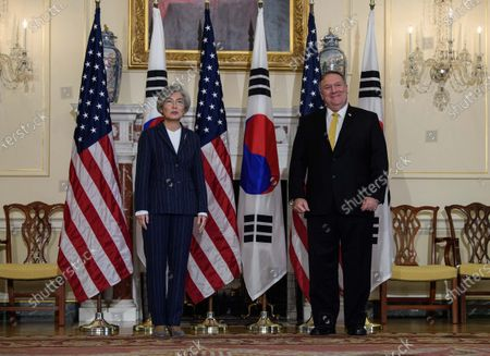 Secretary of State Mike Pompeo meets with South Korean Foreign Minister Kang Kyung-wha at the State Department in Washington, on