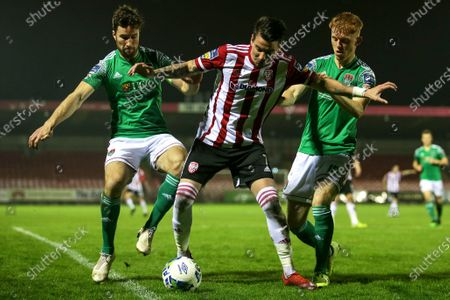Cork City vs Derry City. Derry City's Adam Hammill with Gearoid Morrissey and Alec Byrne of Cork City