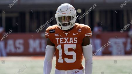 Stock Picture of Texas' Chris Brown (15) lines up for a play against West Virginia during the first half of an NCAA college football game in Austin, Texas