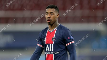 Stock Picture of PSG's Presnel Kimpembe during the UEFA Champions League soccer match between RB Leipzig and Paris Saint-Germain in Leipzig, Germany