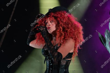 Singer Jillian Hervey of Lion Babe performs onstage during a Love & Lightstream drive-in concert benefitting Austin's music community