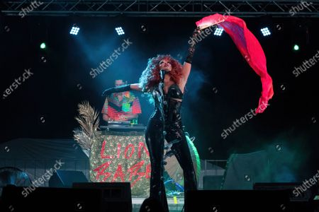 Stock Picture of Singer Jillian Hervey of Lion Babe performs onstage during a Love & Lightstream drive-in concert benefitting Austin's music community
