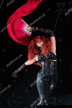 Stock Image of Singer Jillian Hervey of Lion Babe performs onstage during a Love & Lightstream drive-in concert benefitting Austin's music community
