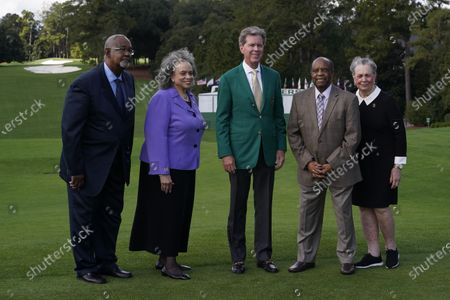 From Left; Dr. Curtis E. Martin and Dr. Cheryle Evans Jones, both of Paine College, Fred Ridley, Chairman of Augusta National Golf Club, Lee Elder, and his wife Sharon posed for a picture on the first tee at the Masters golf tournament, in Augusta, Ga. Fred Ridley, Chairman of Augusta National Golf Club, announced today that Lee Elder, the first Black man to compete in the Masters Tournament 45 years ago, will be honored by establishing scholarships in his name and inviting him to be an Honorary Starter for the 2021 Masters