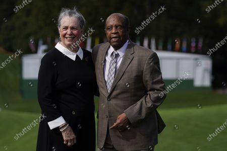 Stock Image of Lee Elder and his wife Sharon posed for a picture on the first tee at the Masters golf tournament, in Augusta, Ga. Fred Ridley, Chairman of Augusta National Golf Club, announced today that Lee Elder, the first Black man to compete in the Masters Tournament 45 years ago, will be honored by establishing scholarships in his name and inviting him to be an Honorary Starter for the 2021 Masters