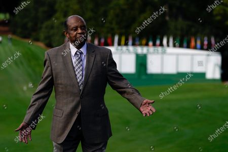 Lee Elder poses for a picture at the Masters golf tournament, in Augusta, Ga. Fred Ridley, Chairman of Augusta National Golf Club, announced today that Lee Elder, the first Black man to compete in the Masters Tournament 45 years ago, will be honored by establishing scholarships in his name and inviting him to be an Honorary Starter for the 2021 Masters