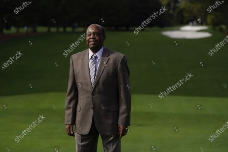 Stock Photo of Lee Elder posed for a picture on the first tee at the Masters golf tournament, in Augusta, Ga. Fred Ridley, Chairman of Augusta National Golf Club, announced today that Lee Elder, the first Black man to compete in the Masters Tournament 45 years ago, will be honored by establishing scholarships in his name and inviting him to be an Honorary Starter for the 2021 Masters