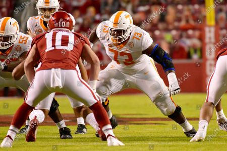 Tennessee offensive lineman Trey Smith (73) blocks against Arkansas during the first half of an NCAA college football game, in Fayetteville, Ark
