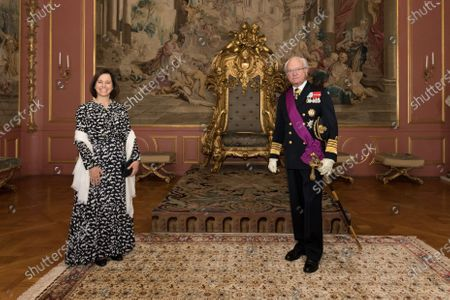 Stock Image of Sara Martins, Portugal's new Ambassador to Sweden, during an audience with King Carl Gustaf
