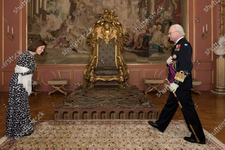 Stock Photo of Sara Martins, Portugals new Ambassador to Sweden, during an audience with King Carl Gustaf