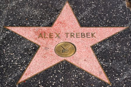 """Stock Image of The late """"Jeopardy"""" quiz show host Alex Trebek's star on the Hollywood Walk of Fame is pictured, in Los Angeles. Trebek died Sunday of pancreatic cancer at age 80"""