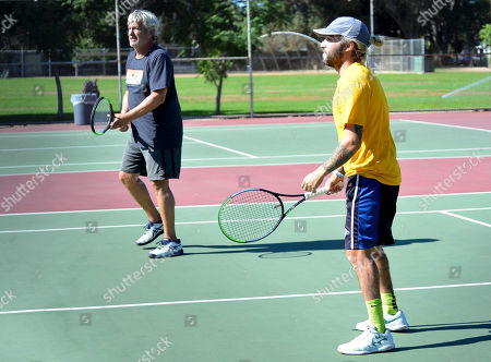 Stock Picture of Exclusive - Pete Wentz plays tennis at a park in Studio City
