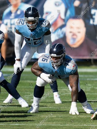 Tennessee Titans offensive guard Rodger Saffold III (76), plays against the Chicago Bears during an NFL football game, in Nashville, Tenn