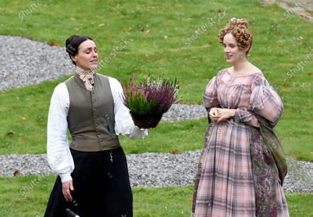 Suranne Jones is pictured in her role of Anne Lister in the BBC drama Gentleman Jack alongside actress Sophie Rundle who plays wife Ann Walker.