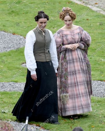 Stock Image of Suranne Jones is pictured in her role of Anne Lister in the BBC drama Gentleman Jack alongside actress Sophie Rundle who plays wife Ann Walker.