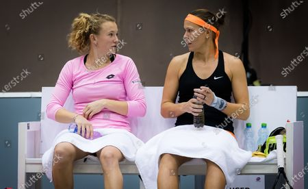 Stock Picture of Lucie Hradecka & Katerina Siniakova of the Czech Republic playing doubles at the 2020 Upper Austria Ladies Linz WTA International tennis tournament