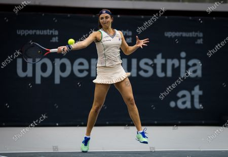 Stock Image of Nadia Podoroska of Argentina playing doubles with Irina-Camelia Begu of Romania at the 2020 Upper Austria Ladies Linz WTA International tennis tournament