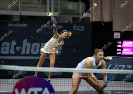 Nadia Podoroska of Argentina playing doubles with Irina-Camelia Begu of Romania at the 2020 Upper Austria Ladies Linz WTA International tennis tournament