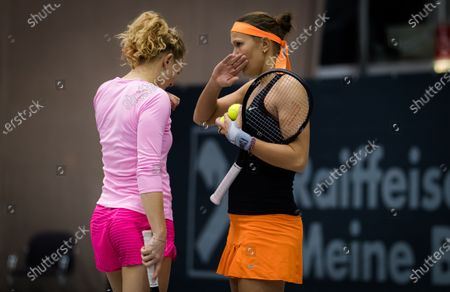Stock Photo of Lucie Hradecka & Katerina Siniakova of the Czech Republic playing doubles at the 2020 Upper Austria Ladies Linz WTA International tennis tournament