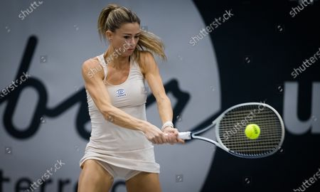 Camila Giorgi of Italy in action during her second round match at the 2020 Upper Austria Ladies Linz WTA International tennis tournament