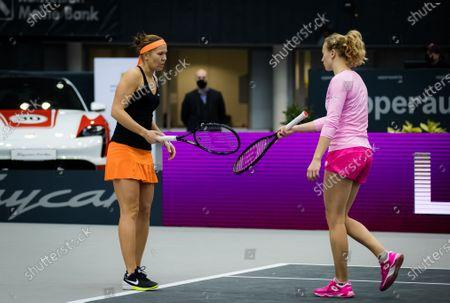 Stock Image of Katerina Siniakova & Lucie Hradecka of the Czech Republic playing doubles at the 2020 Upper Austria Ladies Linz WTA International tennis tournament