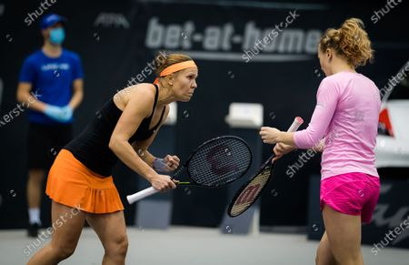 Katerina Siniakova & Lucie Hradecka of the Czech Republic playing doubles at the 2020 Upper Austria Ladies Linz WTA International tennis tournament