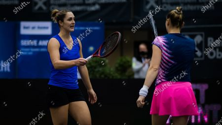 Gabriela Dabrowski of Canada & Vera Zvonareva of Russia playing doubles at the 2020 Upper Austria Ladies Linz WTA International tennis tournament